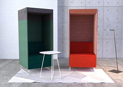 Kolorowe siedziska akustyczne
